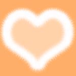 おしゃれなファーのハート オレンジ