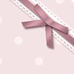 ドットとリボンの背景 ピンク