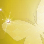 蝶のイラスト ヘッダー イエロー