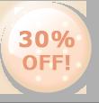 30%OFF!のボタン オレンジ