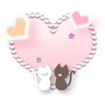 キラキラハートと子猫のイラスト