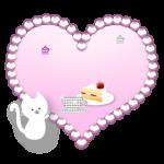 キラキラハートと子猫のイラスト素材